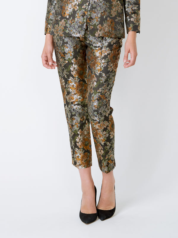 Cigarette Trousers Olive Chatsworth Silk Jacquard