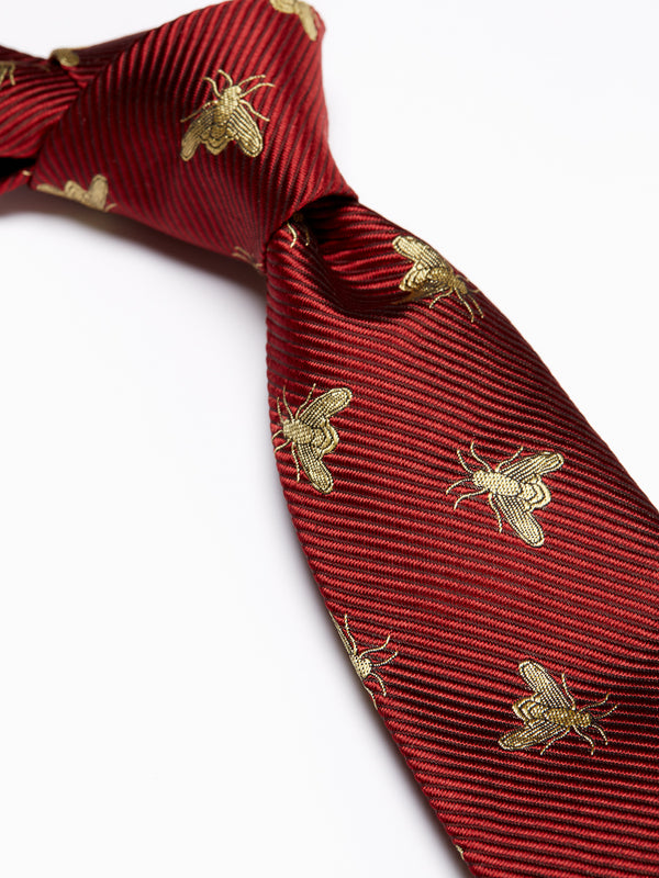 Red Bees Silk Tie