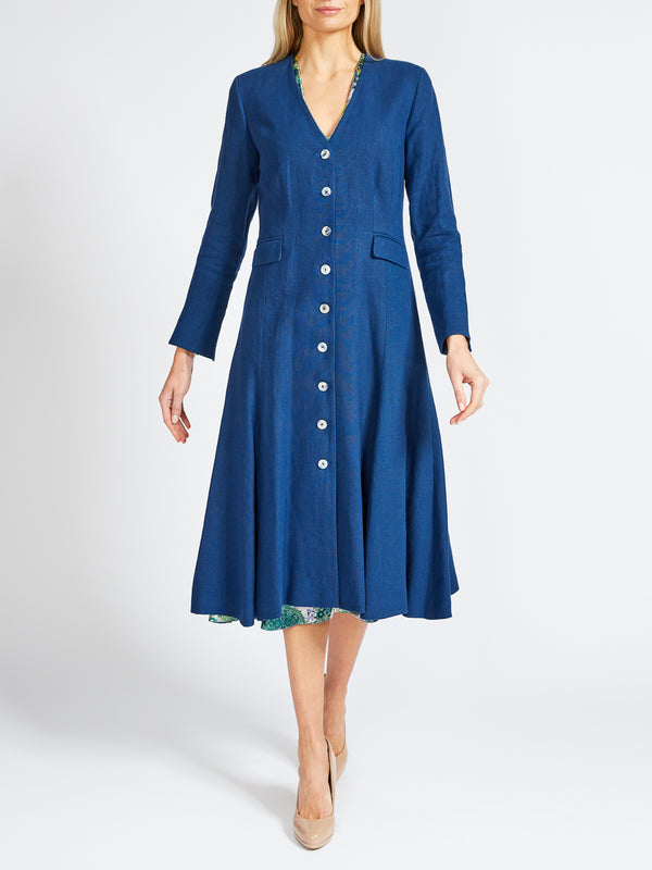 Savoy Coat French Navy Evering Washed Linen