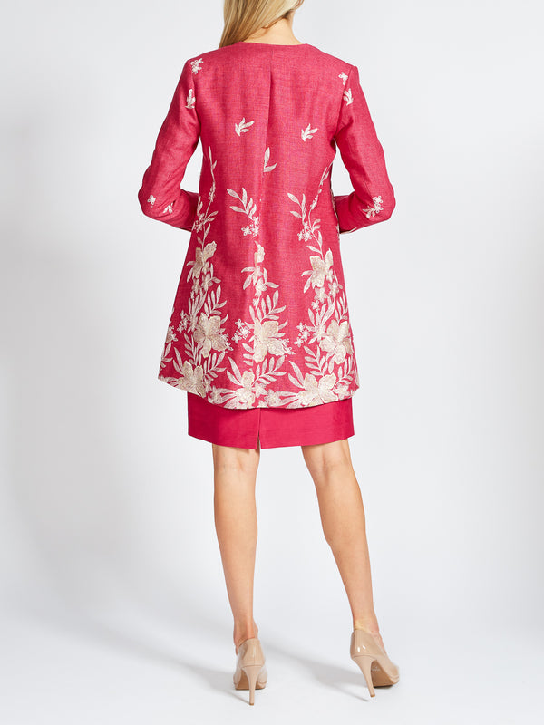 Swing Coat Peony Warsaw Crease Resist Linen