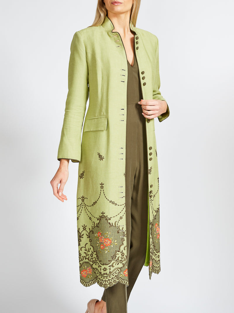 Carnaby Coat Apple Green Riga Linen