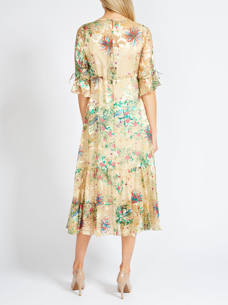 Nancy Dress Cream Davenport Silk Devore Chiffon