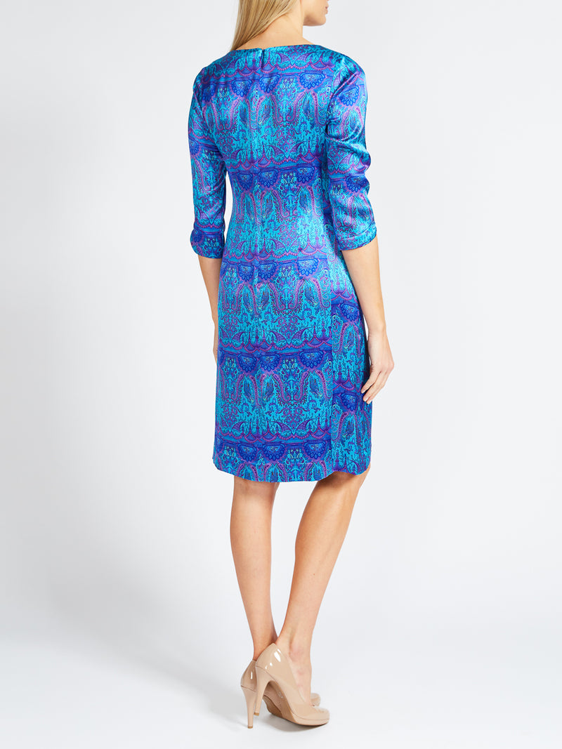 Louise Dress Cobalt Azure Parmee Silk Satin