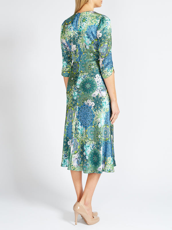 Poppy Dress Blue Pisa Printed Silk Satin