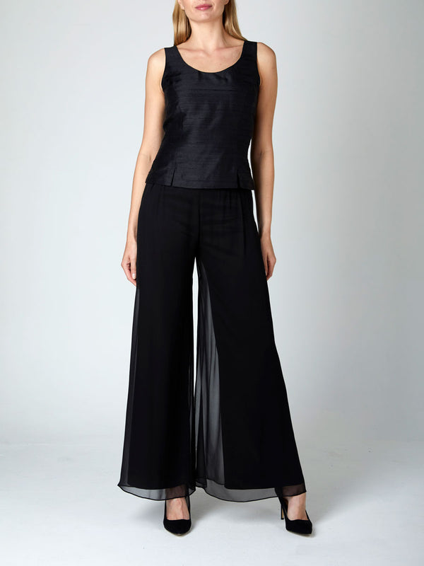 Palazzo Pants Black Plain Georgette