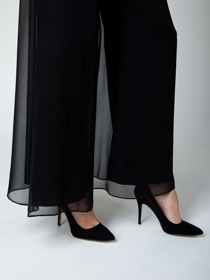 Black Plain Georgette Palazzo Pants