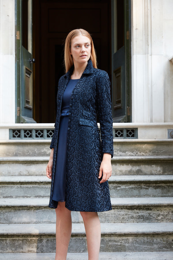 Victoria Coat Black and Navy Lutterworth Silk Velvet