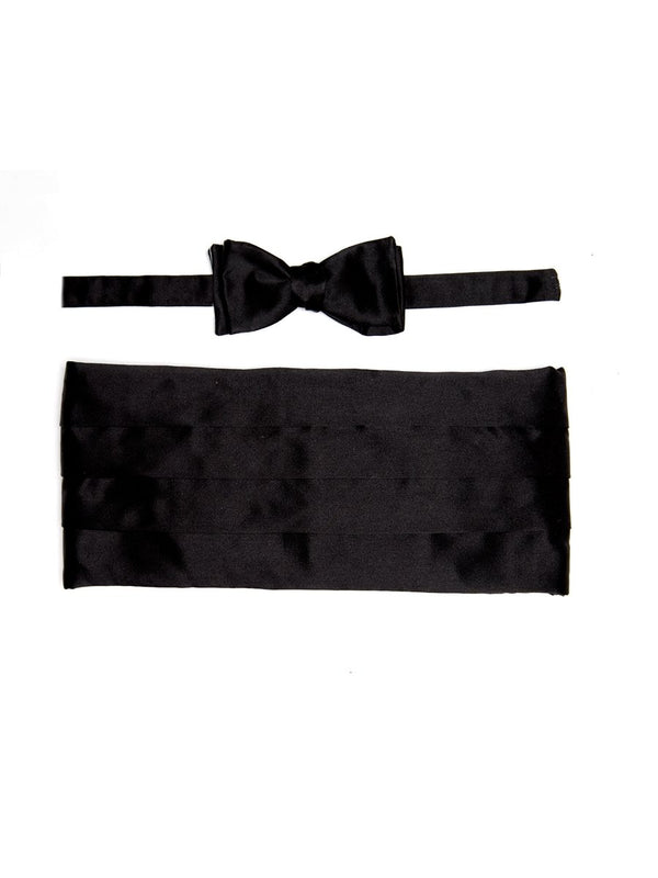 Black Duchesse Satin Silk Pleated Cummerbund Set