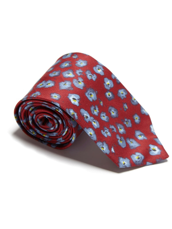 Red Flower Silk Tie