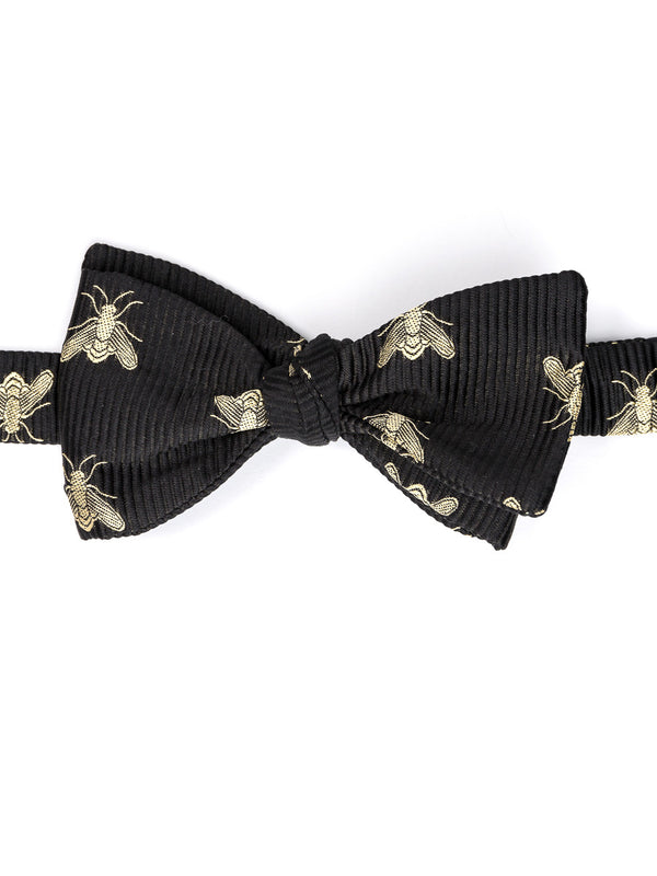 Black Bees Silk Bow Tie
