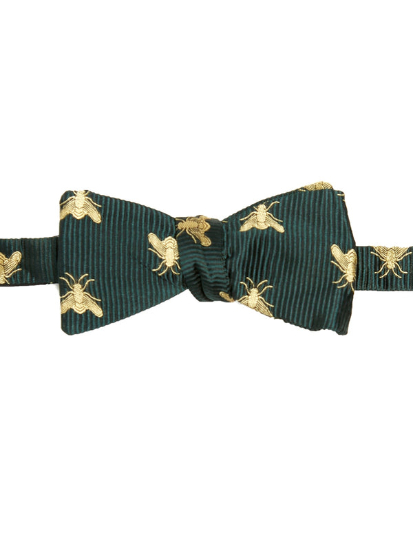 Green Bees Silk Bow Tie