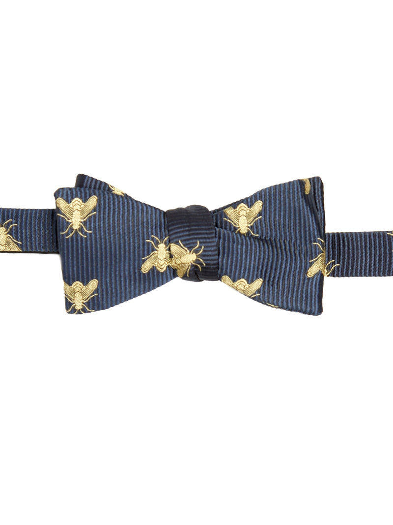 Navy Bees Silk Bow Tie