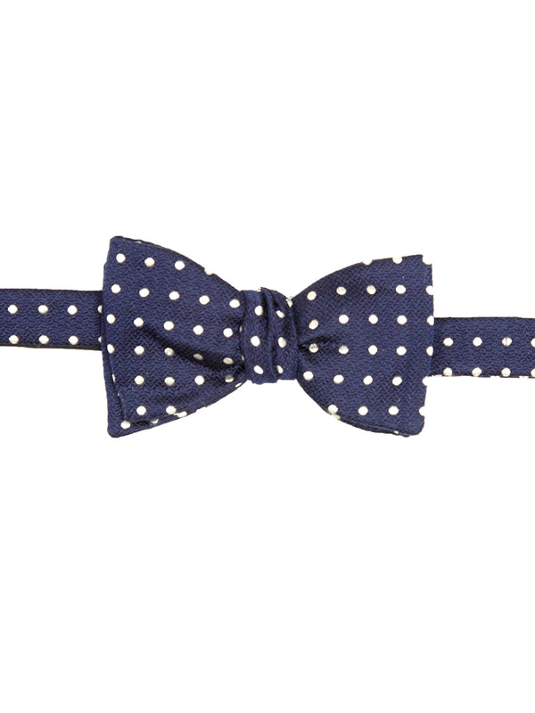 Navy Pickwick Silk Bow Tie