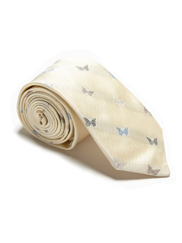 Cream Butterfly Silk Tie