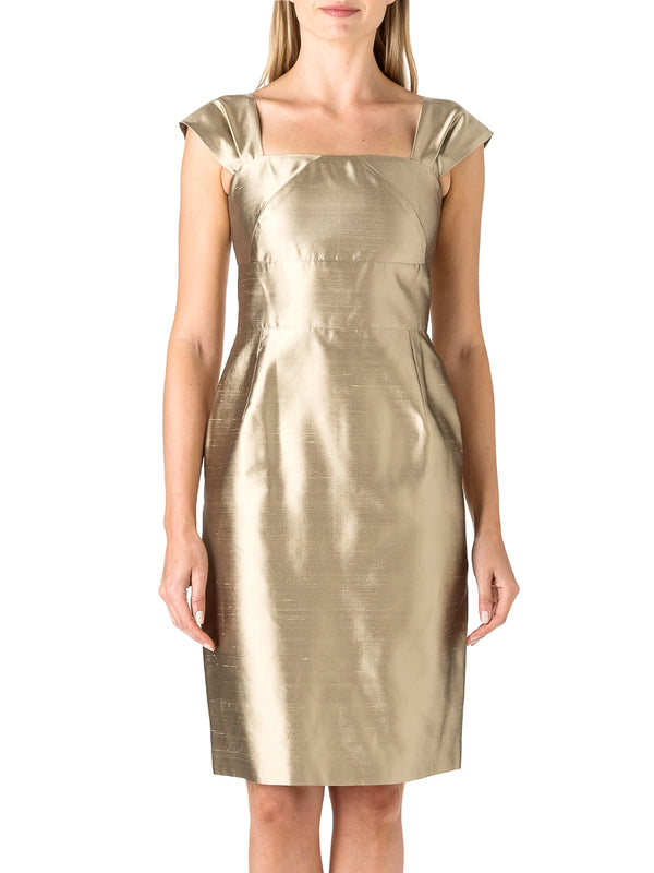 Gold Plain Shantung Bardot Dress