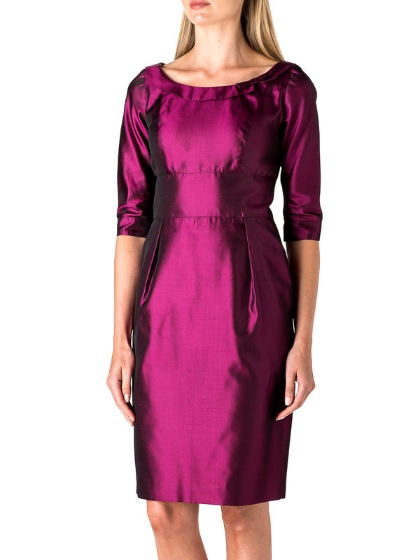 Alice Dress Fuchsia Reverse Plain Shantung