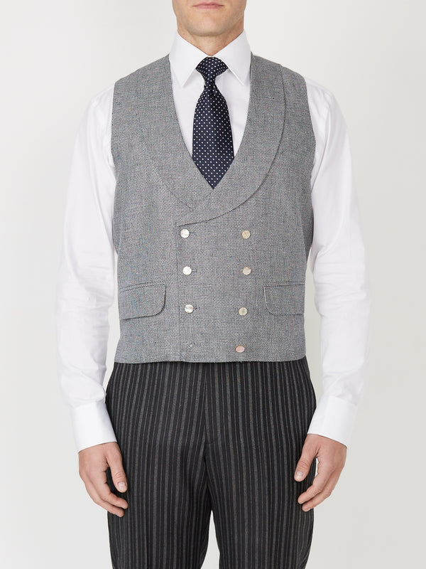 Navy Hardewick Linen Double Breasted 8 Button Shawl Lapel Waistcoat