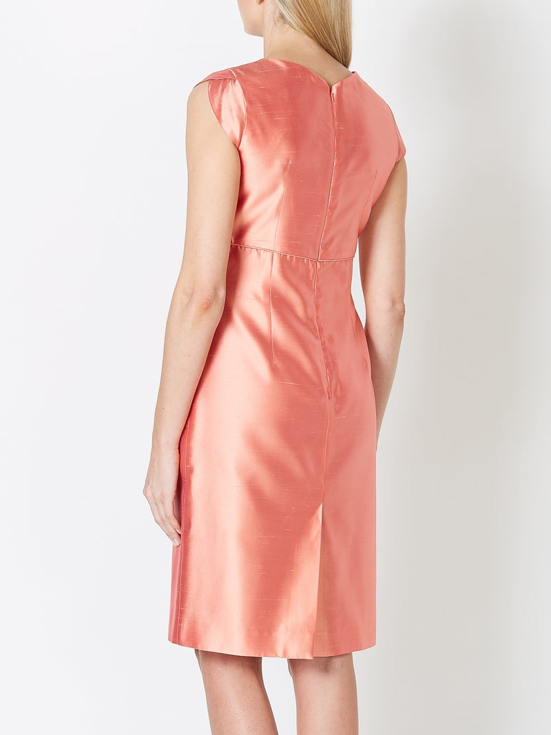 Josephine Dress Apricot Plain Shantung