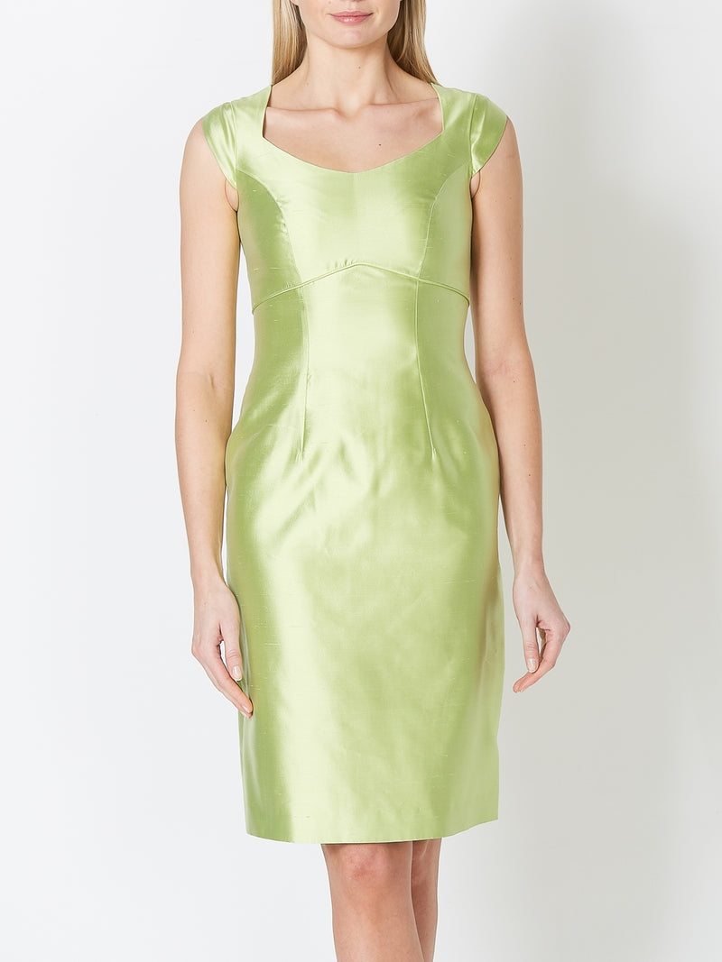 Josephine Dress Lime Plain Shantung