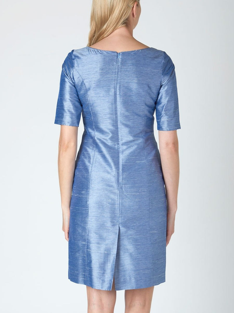 Cilla Dress Ocean Blue Plain Cochin Duppion