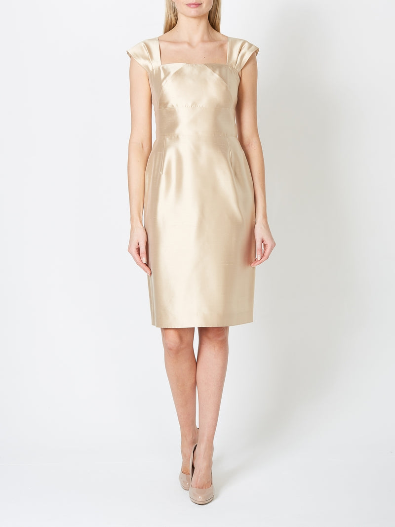 Marie Dress Chardonnay Plain Shantung