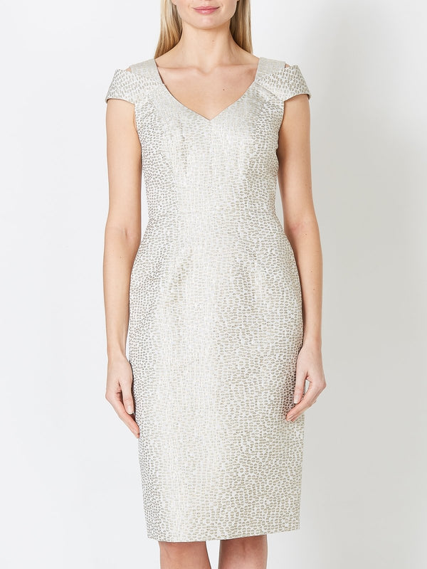 Maxine Dress Grey Pearl Solitaire Jacquard
