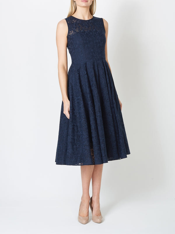 Edwina Circle Dress Navy Vienna Embroidered Organza