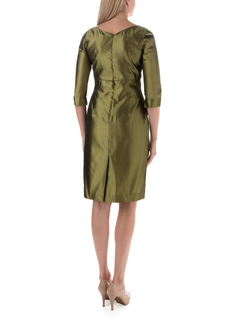 Lemon Green Plain Shantung Theresa Dress