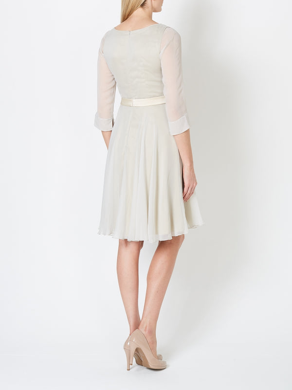 Grey Glacier Plain Silk Georgette Serena Dress