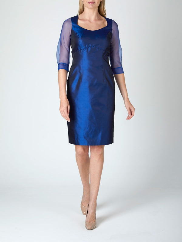 Josephine Dress Cobalt Silk Shanutng