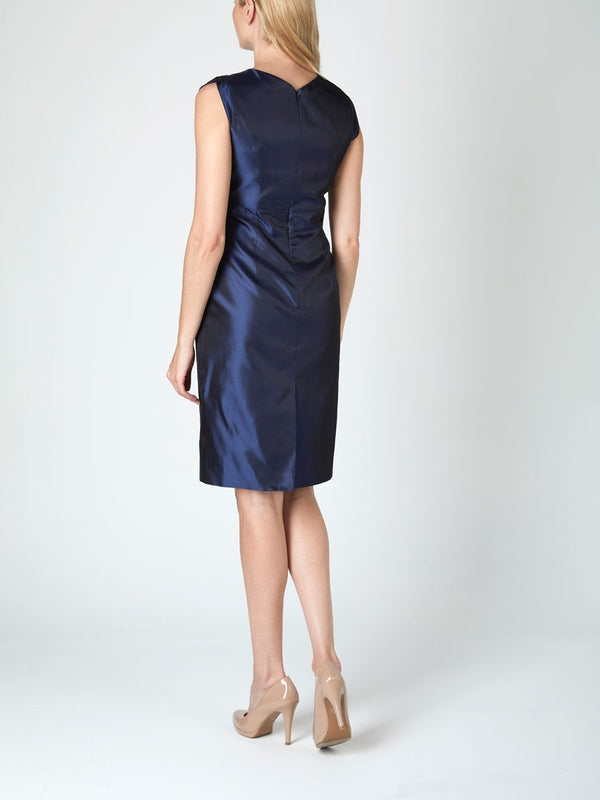 Josephine Dress Navy Reverse Plain Shantung