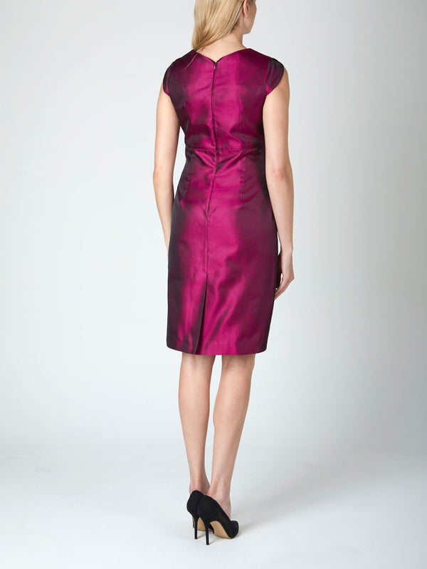 Fuchsia Reverse Plain Silk Shantung Josephine Dress