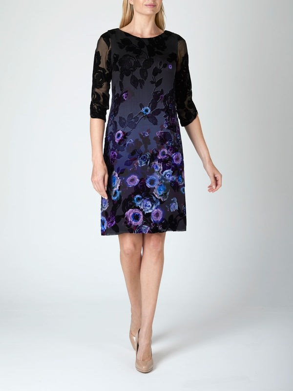 Black Lambourn Printed Border Silk Devore  Louise Dress