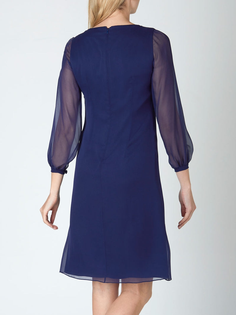 Louisa Dress Navy Plain Silk Georgette