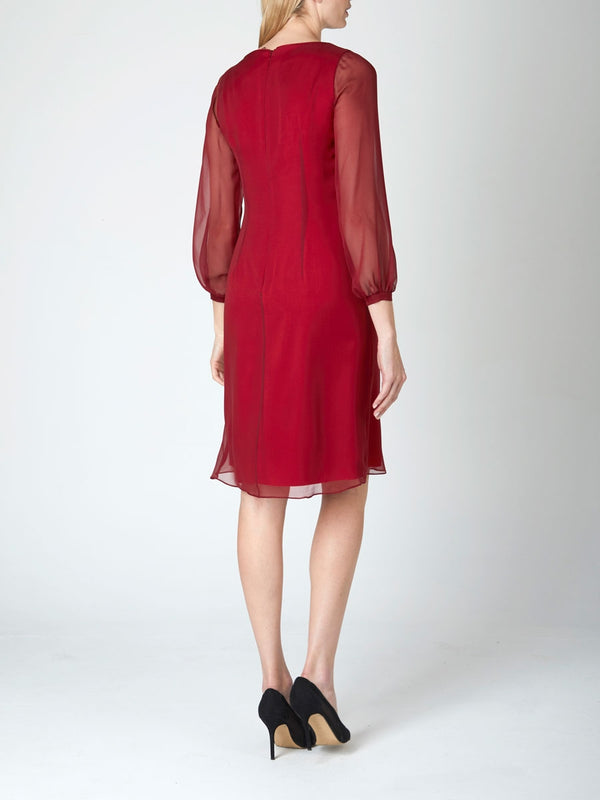 Burgundy Plain Silk Georgette Louisa Dress