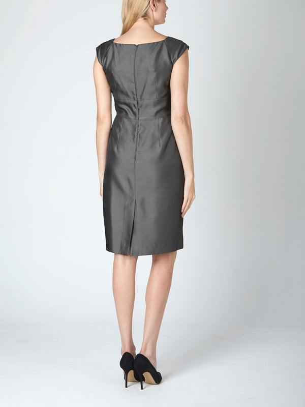 Marie Dress Lava Stone Grey Reverse Connaught Silk