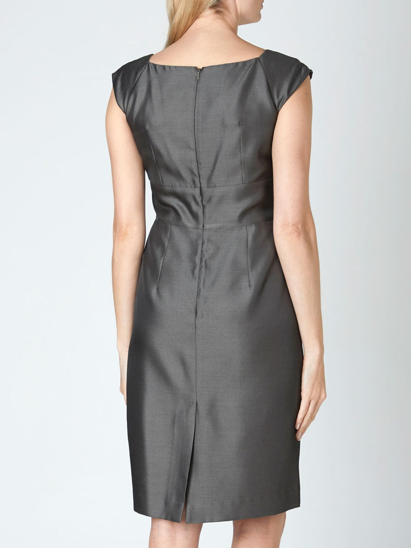 Lava Stone Grey Reverse Connaught wool and silk Classic Marie Dress