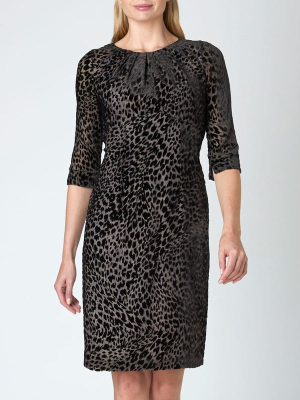 Ozcan Straight Dress Grey Leopard Devore Silk Devore