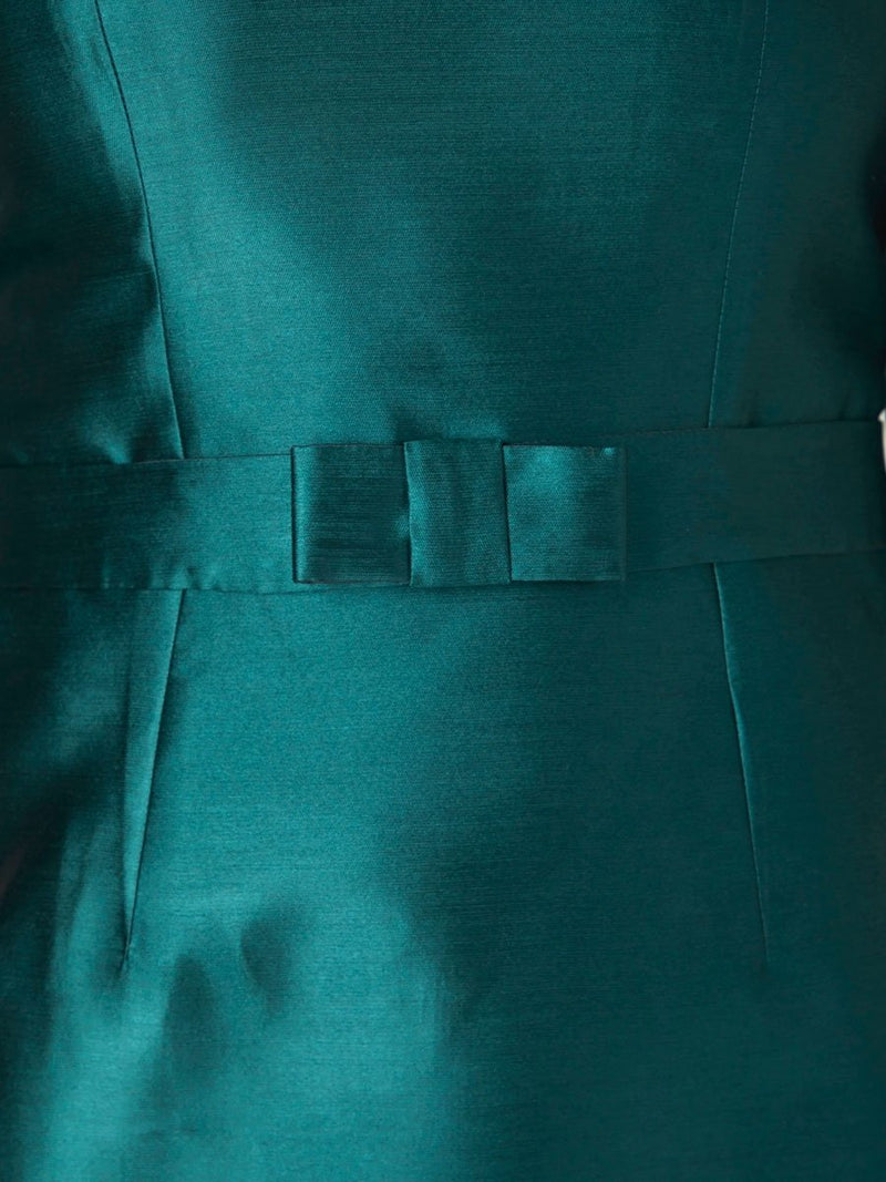 Serena Straight Dress Green Paris Shantung
