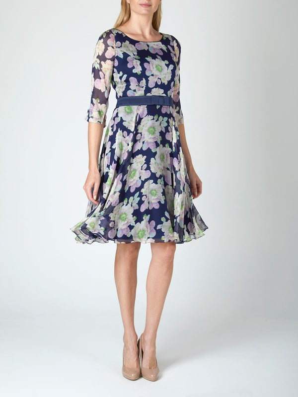 Serena Circle Dress Navy Blomfeild Silk Chiffon