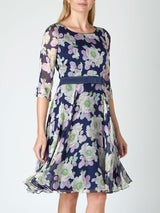 Navy Blomfeild Silk Chiffon Serena Dress