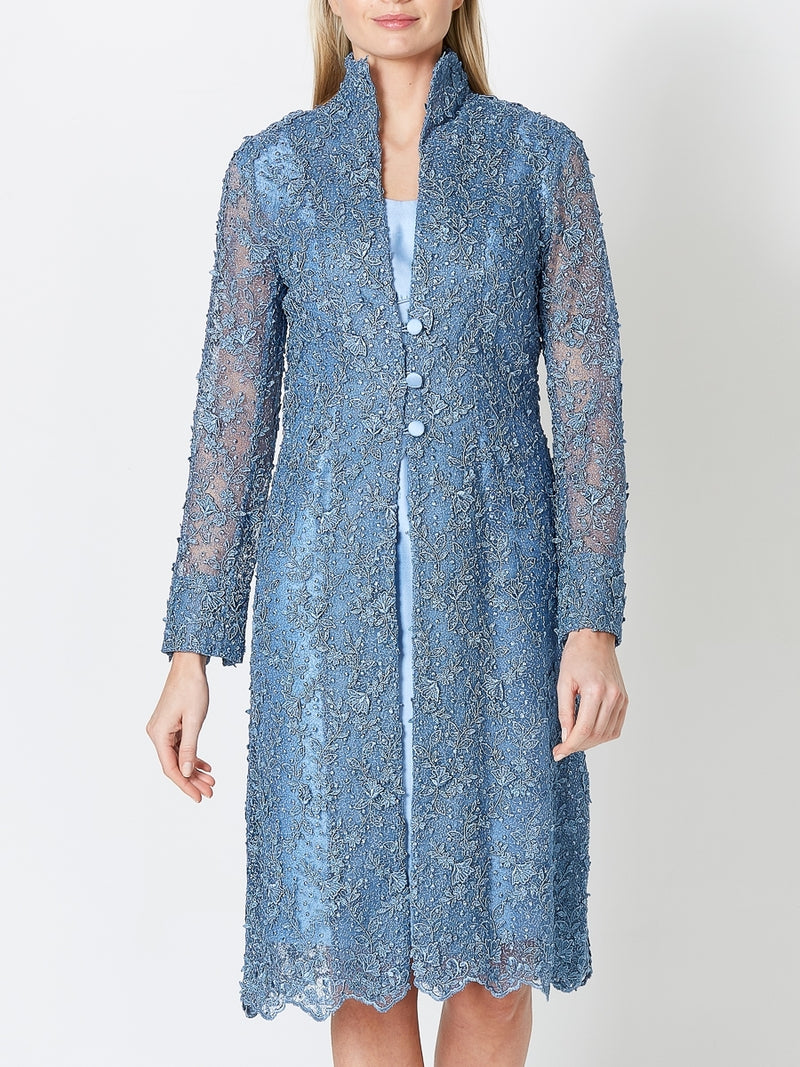 Westminster Coat Blue Rome Embroidered Tulle