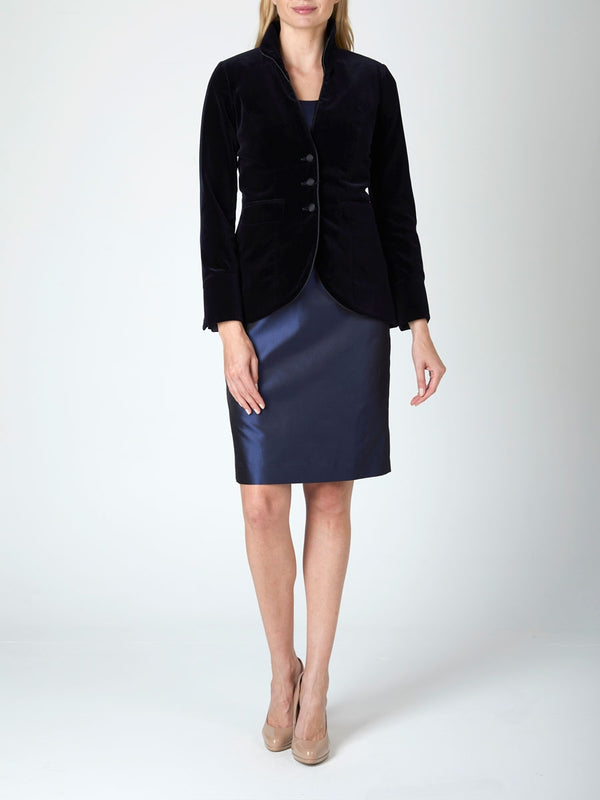 Victoriana jacket Navy Plain Cotton Velvet