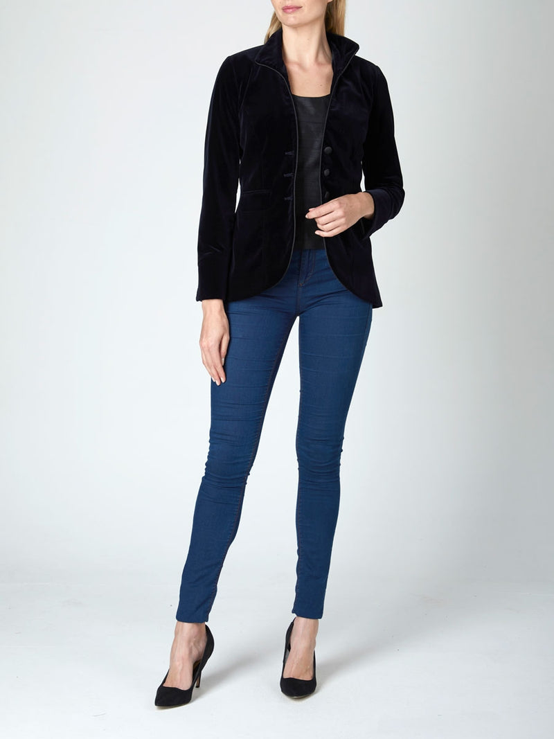 Navy Plain Cotton Velvet Victoriana jacket