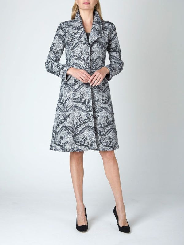 Charlotte Coat Silver Marlow  Wool Tweed