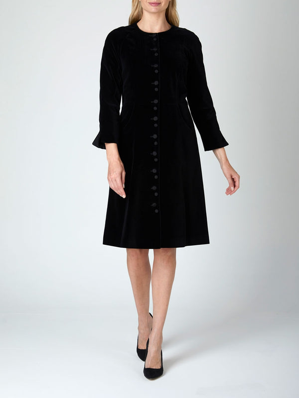 Dress Coat Black Plain Velvet