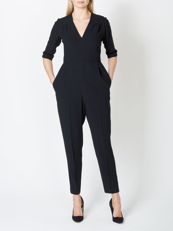 Tailored Jumpsuit Black Plain Crepe