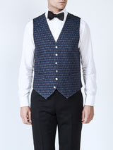 Navy Anderson Wool Single Breasted 6 Button Waistcoat