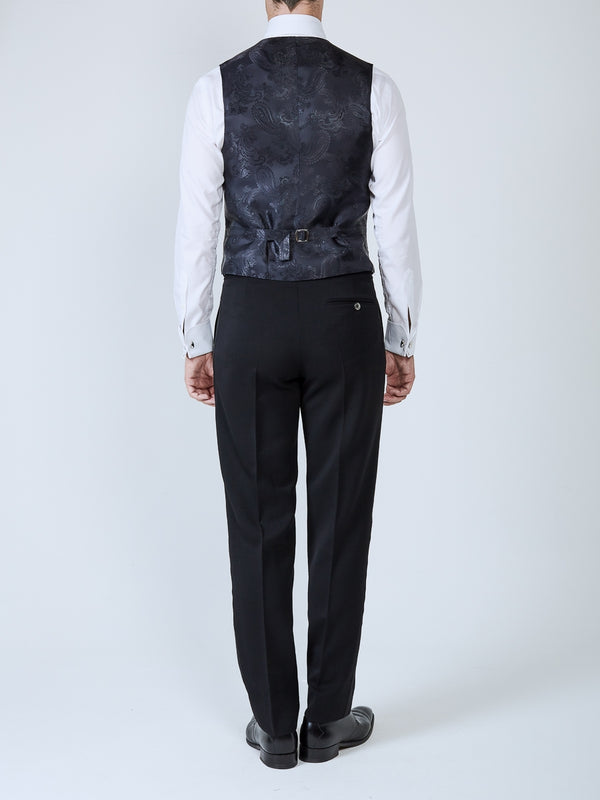 Midnight Davenport Silk Single Breasted 4 Button Piped Waistcoat