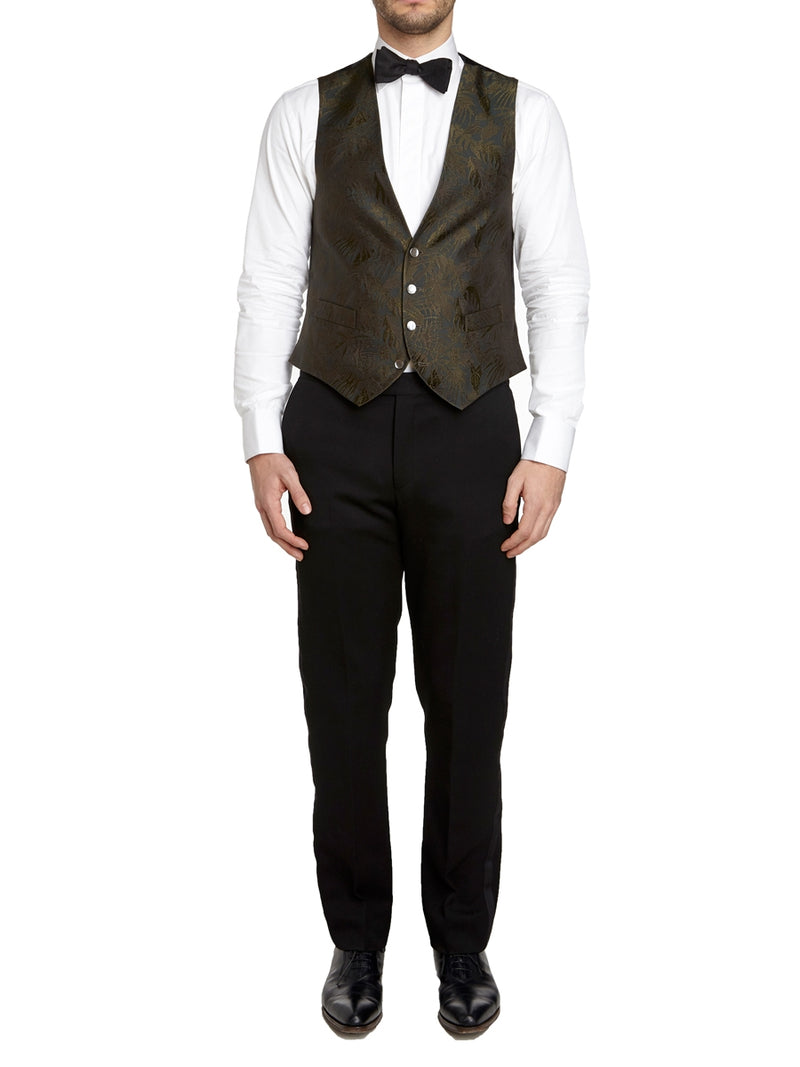 Olive Botanics Silk Single Breasted 4 Button Waistcoat